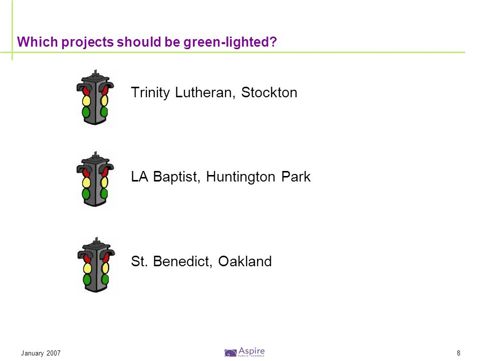 January 20078 Which projects should be green-lighted? Trinity Lutheran, Stockton LA Baptist, Huntington Park St. Benedict, Oakland