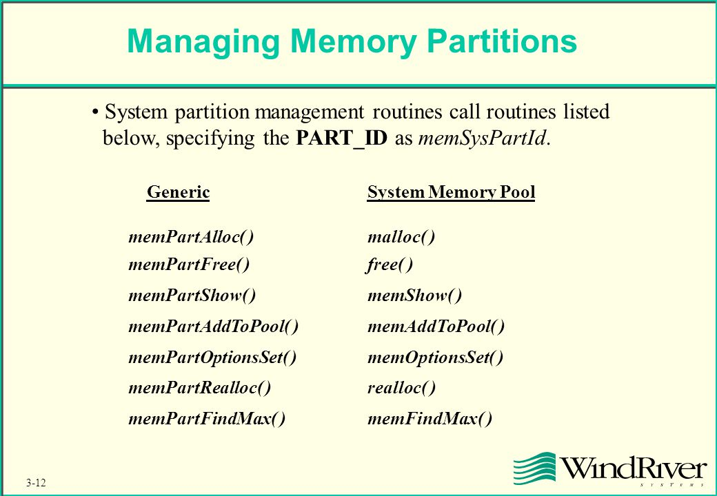 3-12 Managing Memory Partitions System partition management routines call routines listed below, specifying the PART_ID as memSysPartId.