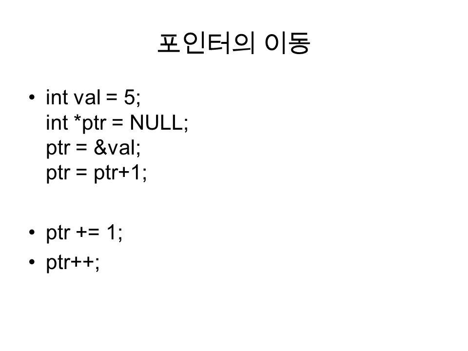 포인터의 이동 int val = 5; int *ptr = NULL; ptr = &val; ptr = ptr+1; ptr += 1; ptr++;