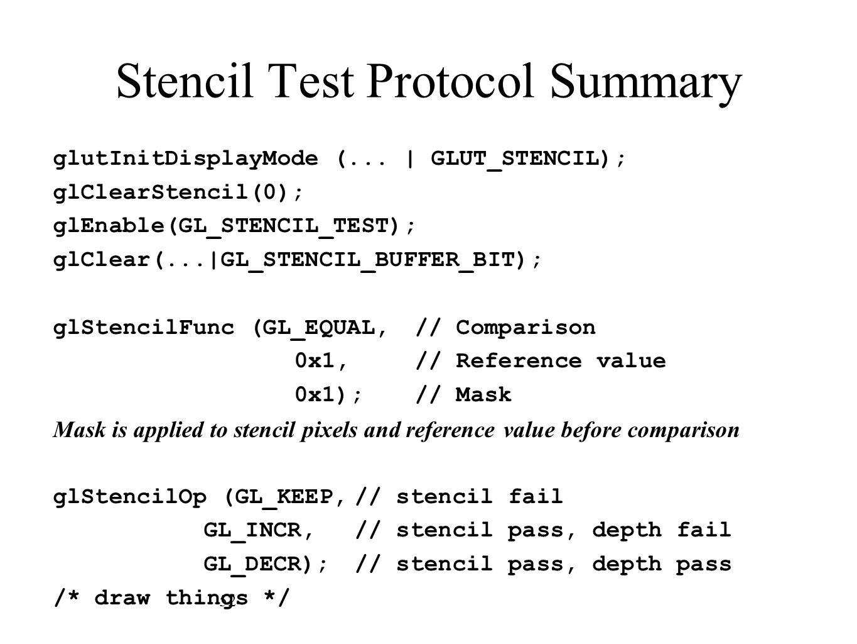 Stencil Test Protocol Summary glutInitDisplayMode (...   GLUT_STENCIL); glClearStencil(0); glEnable(GL_STENCIL_TEST); glClear(... GL_STENCIL_BUFFER_BI
