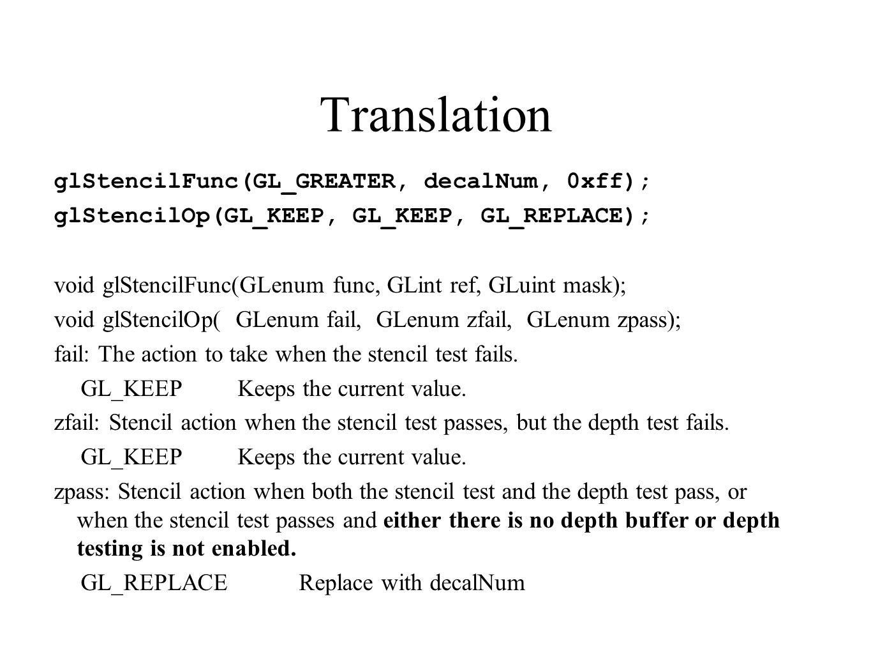 Translation glStencilFunc(GL_GREATER, decalNum, 0xff); glStencilOp(GL_KEEP, GL_KEEP, GL_REPLACE); void glStencilFunc(GLenum func, GLint ref, GLuint ma