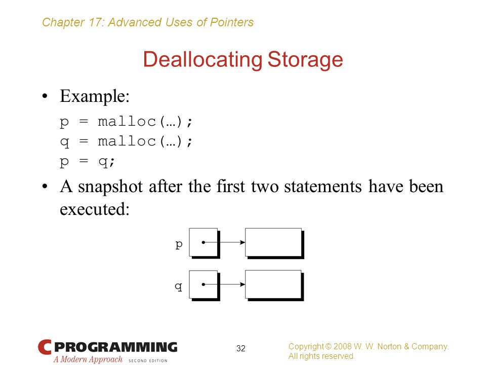 Chapter 17: Advanced Uses of Pointers Deallocating Storage Example: p = malloc(…); q = malloc(…); p = q; A snapshot after the first two statements hav
