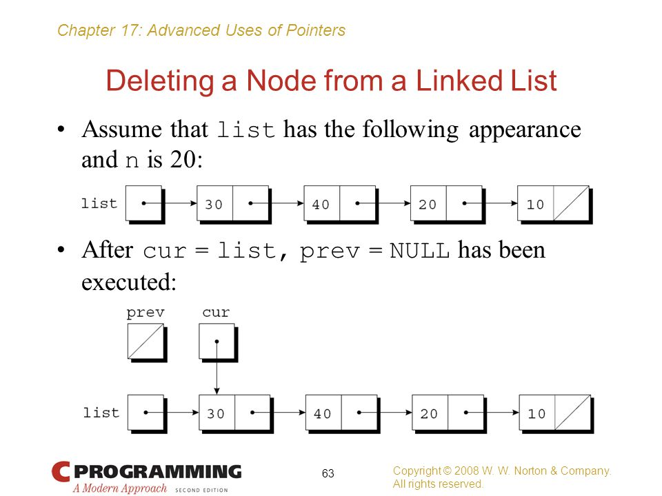 Chapter 17: Advanced Uses of Pointers Deleting a Node from a Linked List Assume that list has the following appearance and n is 20: After cur = list,