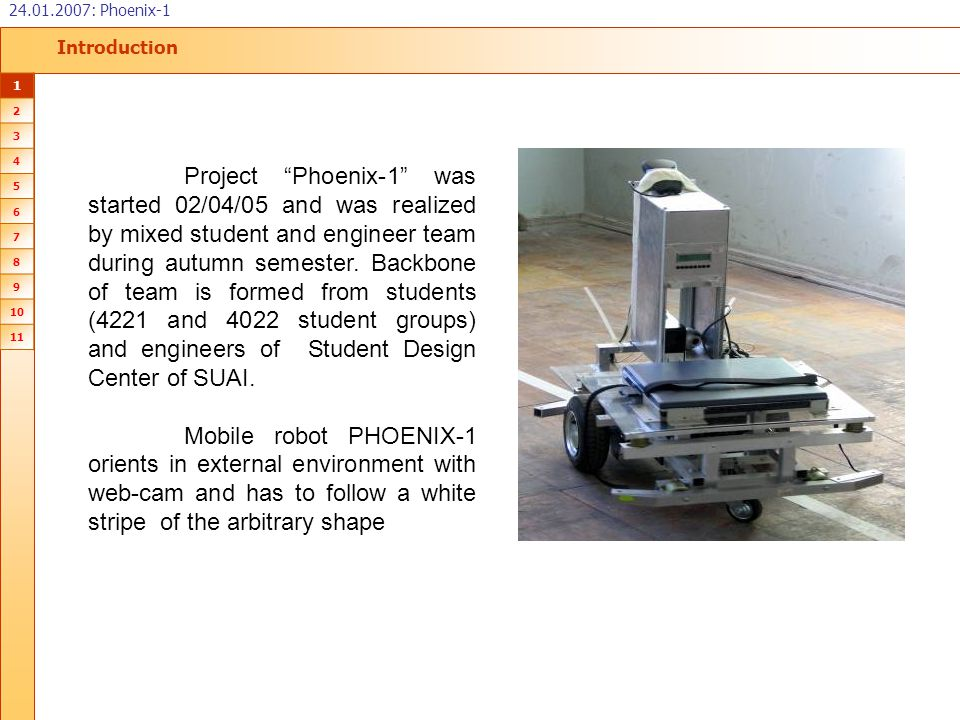 """Introduction 24.01.2007: Phoenix-1 1 2 3 4 5 6 7 8 9 10 11 Project """"Phoenix-1"""" was started 02/04/05 and was realized by mixed student and engineer tea"""