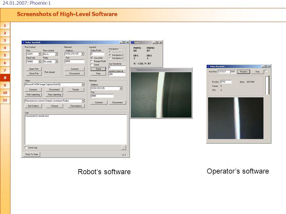 Screenshots of High-Level Software 24.01.2007: Phoenix-1 1 2 3 4 5 6 7 8 9 10 11 Robot's software Operator's software