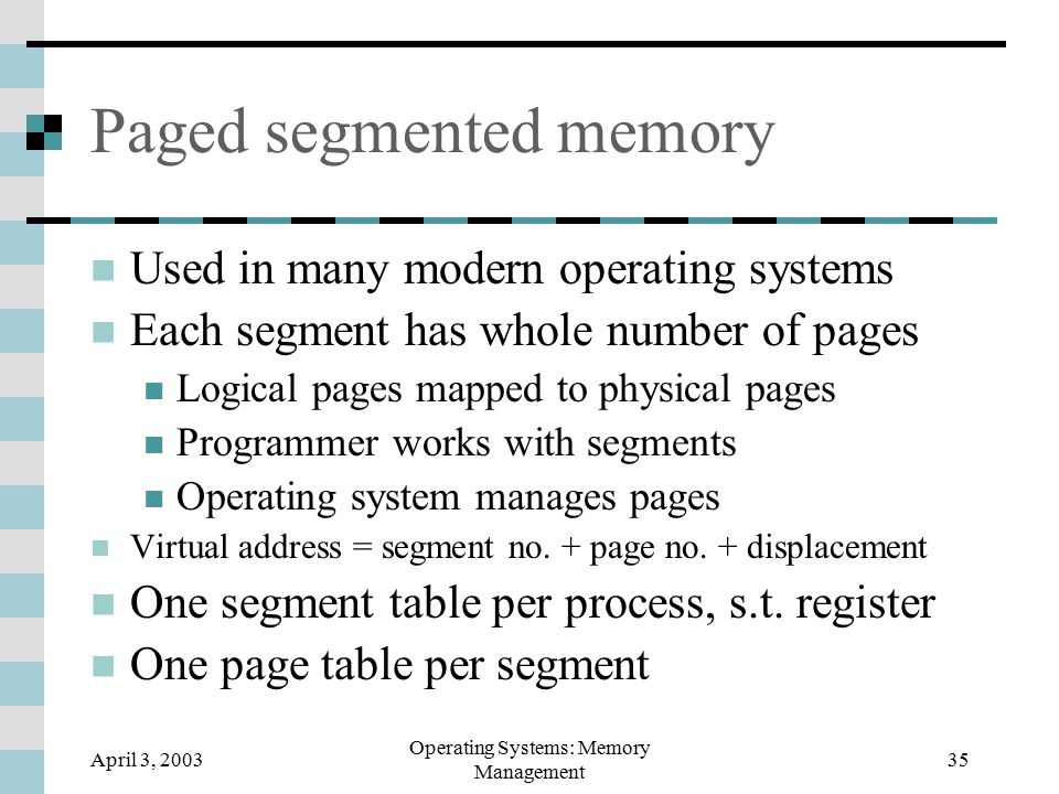 April 3, 2003 Operating Systems: Memory Management 35 Paged segmented memory Used in many modern operating systems Each segment has whole number of pages Logical pages mapped to physical pages Programmer works with segments Operating system manages pages Virtual address = segment no.