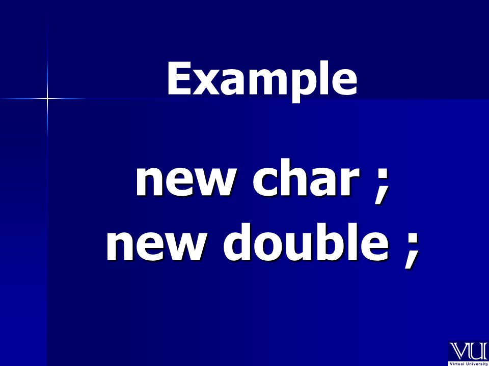 new char ; new double ; Example