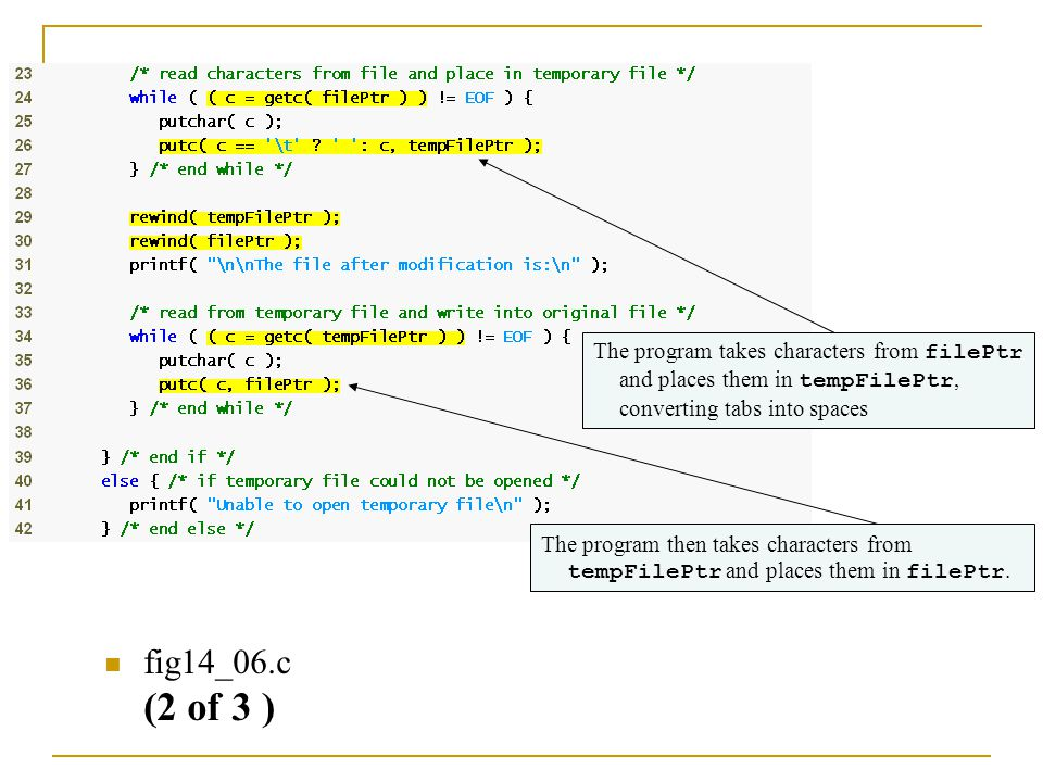 fig14_06.c (2 of 3 ) The program takes characters from filePtr and places them in tempFilePtr, converting tabs into spaces The program then takes char