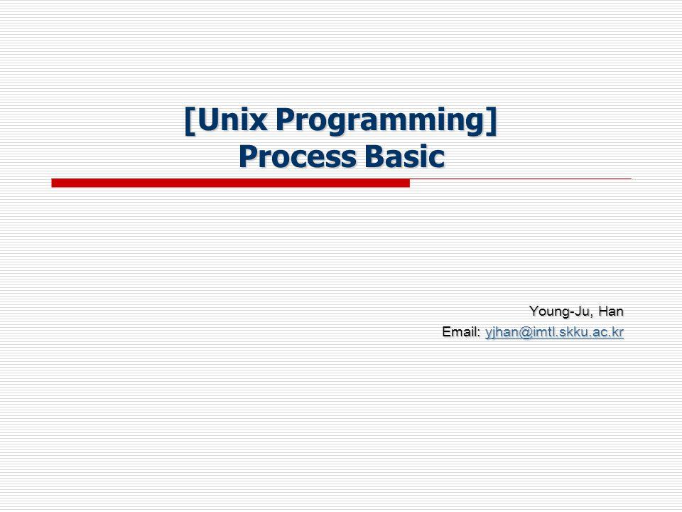 [Unix Programming] Process Basic Young-Ju, Han Email: yjhan@imtl.skku.ac.kr yjhan@imtl.skku.ac.kr