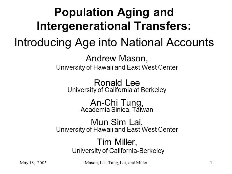 May 13, 2005Mason, Lee, Tung, Lai, and Miller1 Population Aging and Intergenerational Transfers: Introducing Age into National Accounts Andrew Mason, University of Hawaii and East West Center Ronald Lee University of California at Berkeley An-Chi Tung, Academia Sinica, Taiwan Mun Sim Lai, University of Hawaii and East West Center Tim Miller, University of California-Berkeley