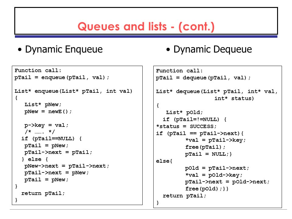 Queues and lists - (cont.) Dynamic EnqueueDynamic Dequeue Function call: pTail = enqueue(pTail, val); List* enqueue(List* pTail, int val) { List* pNew; pNew = newE(); p->key = val; /* …….