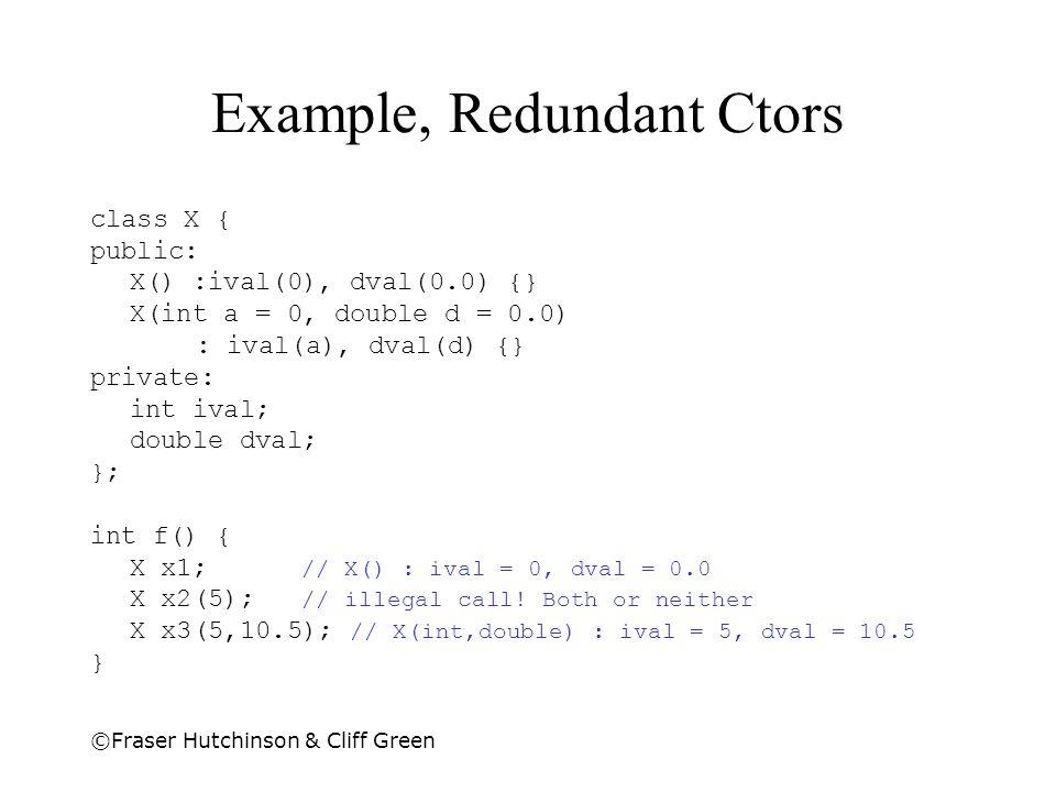 ©Fraser Hutchinson & Cliff Green Example, Redundant Ctors class X { public: X() :ival(0), dval(0.0) {} X(int a = 0, double d = 0.0) : ival(a), dval(d) {} private: int ival; double dval; }; int f() { X x1; // X() : ival = 0, dval = 0.0 X x2(5); // illegal call.