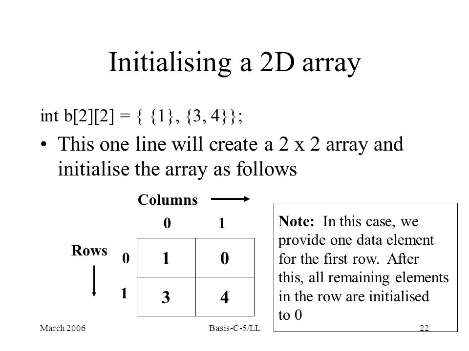 March 2006Basis-C-5/LL22 int b[2][2] = { {1}, {3, 4}}; This one line will create a 2 x 2 array and initialise the array as follows 10 34 01 0 1 Columns Rows Note: In this case, we provide one data element for the first row.