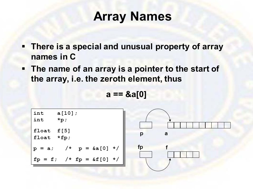 Array Names  There is a special and unusual property of array names in C  The name of an array is a pointer to the start of the array, i.e.