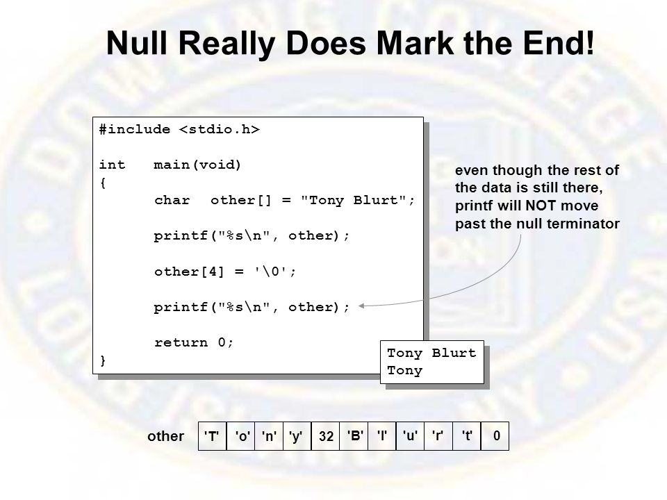 Null Really Does Mark the End.