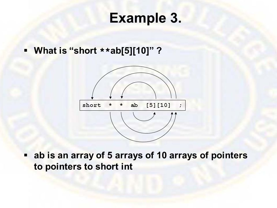 Example 3.  What is short ** ab[5][10] .