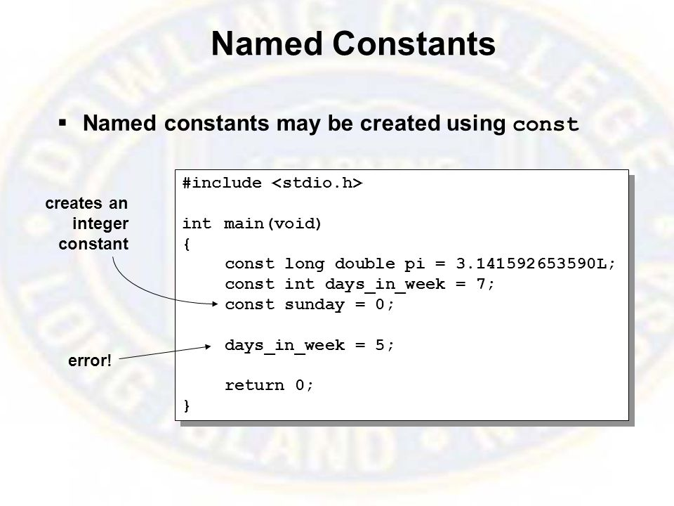 Named Constants  Named constants may be created using const #include intmain(void) { const long double pi = 3.141592653590L; const int days_in_week = 7; const sunday = 0; days_in_week = 5; return 0; } #include intmain(void) { const long double pi = 3.141592653590L; const int days_in_week = 7; const sunday = 0; days_in_week = 5; return 0; } creates an integer constant error!