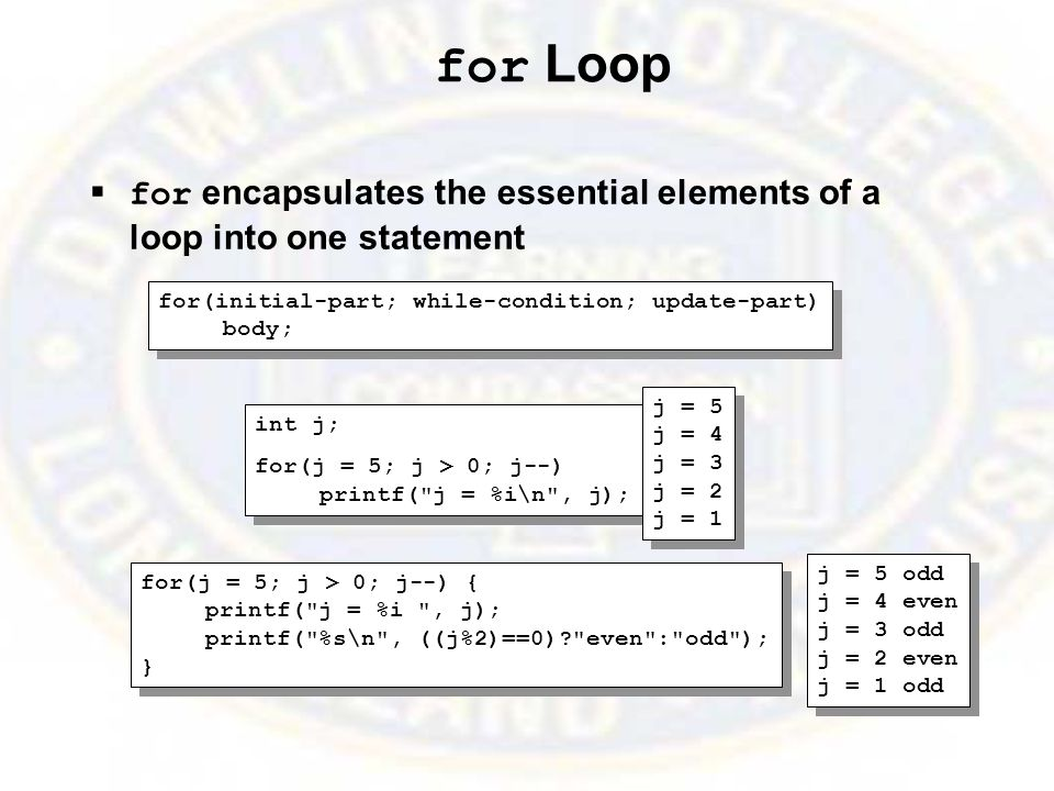 for Loop  for encapsulates the essential elements of a loop into one statement for(initial-part; while-condition; update-part) body; for(initial-part; while-condition; update-part) body; int j; for(j = 5; j > 0; j--) printf( j = %i\n , j); int j; for(j = 5; j > 0; j--) printf( j = %i\n , j); j = 5 j = 4 j = 3 j = 2 j = 1 j = 5 j = 4 j = 3 j = 2 j = 1 for(j = 5; j > 0; j--) { printf( j = %i , j); printf( %s\n , ((j%2)==0)? even : odd ); } for(j = 5; j > 0; j--) { printf( j = %i , j); printf( %s\n , ((j%2)==0)? even : odd ); } j = 5 odd j = 4 even j = 3 odd j = 2 even j = 1 odd j = 5 odd j = 4 even j = 3 odd j = 2 even j = 1 odd