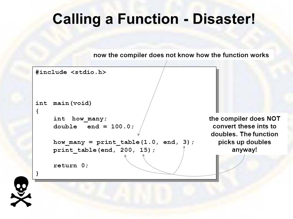 Calling a Function - Disaster.