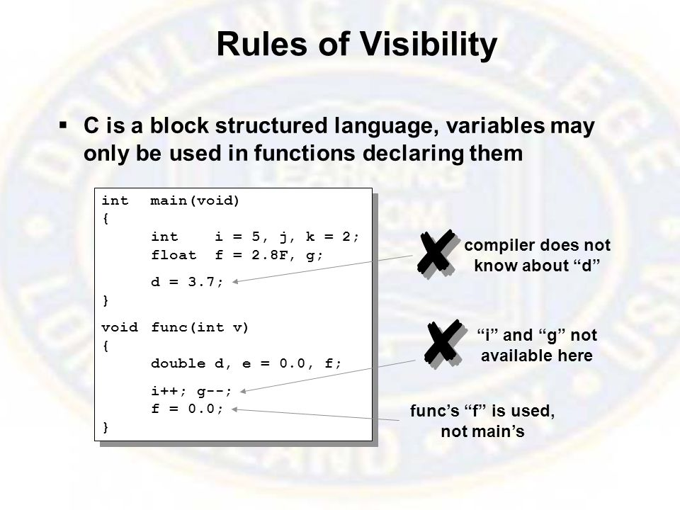 Rules of Visibility  C is a block structured language, variables may only be used in functions declaring them intmain(void) { inti = 5, j, k = 2; floatf = 2.8F, g; d = 3.7; } voidfunc(int v) { doubled, e = 0.0, f; i++; g--; f = 0.0; } intmain(void) { inti = 5, j, k = 2; floatf = 2.8F, g; d = 3.7; } voidfunc(int v) { doubled, e = 0.0, f; i++; g--; f = 0.0; } func's f is used, not main's compiler does not know about d i and g not available here