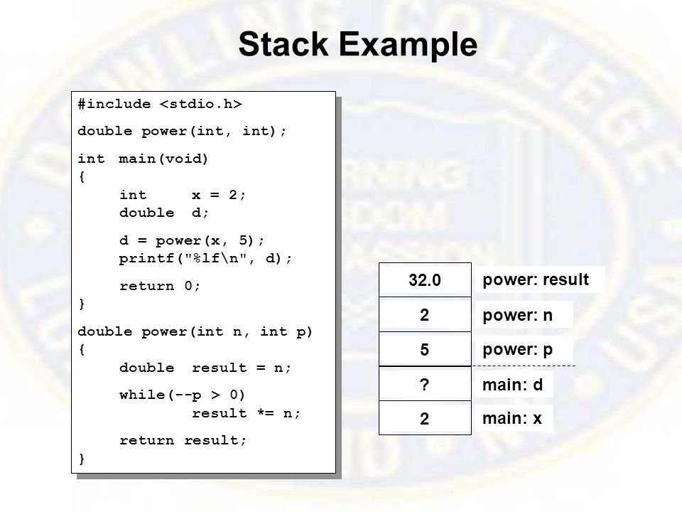 Stack Example #include double power(int, int); intmain(void) { intx = 2; doubled; d = power(x, 5); printf( %lf\n , d); return 0; } double power(int n, int p) { doubleresult = n; while(--p > 0) result *= n; return result; } #include double power(int, int); intmain(void) { intx = 2; doubled; d = power(x, 5); printf( %lf\n , d); return 0; } double power(int n, int p) { doubleresult = n; while(--p > 0) result *= n; return result; } main: x 2 main: d .