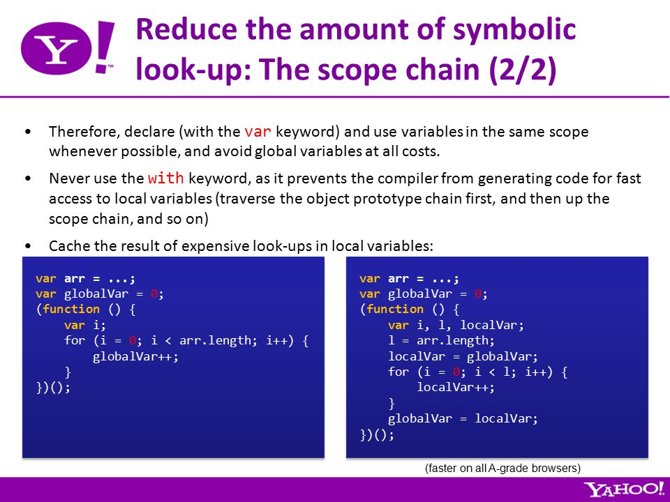 Reduce the amount of symbolic look-up: The scope chain (2/2) Therefore, declare (with the var keyword) and use variables in the same scope whenever possible, and avoid global variables at all costs.
