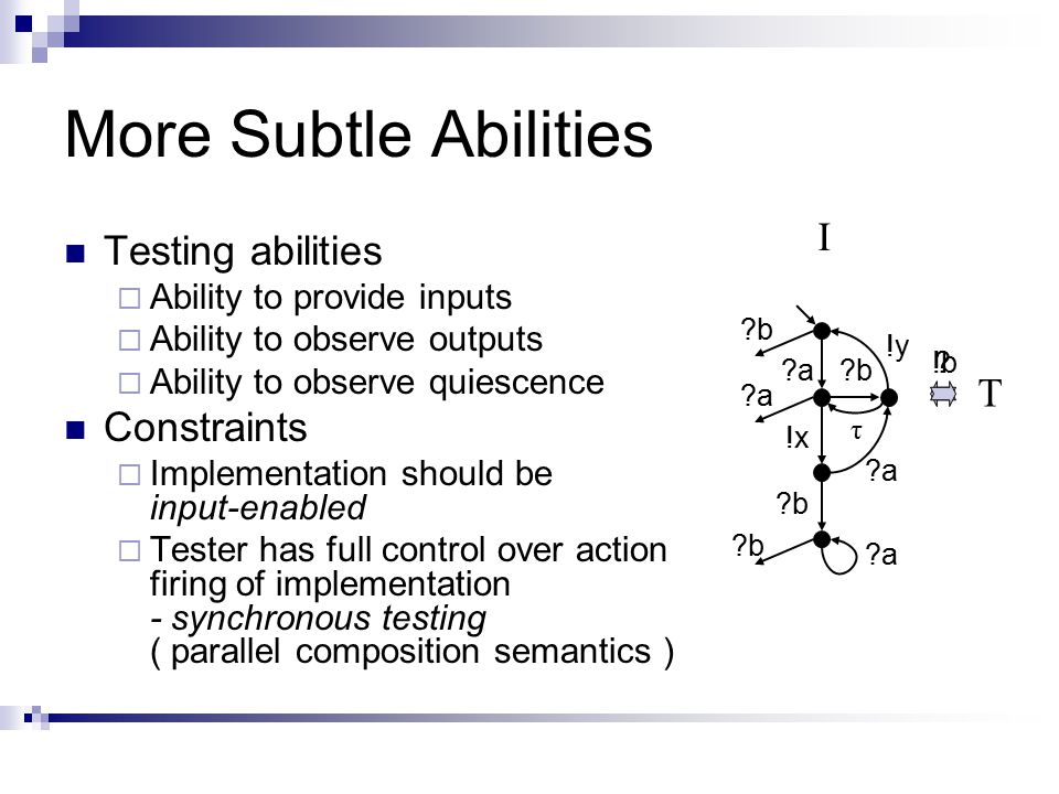 More Subtle Abilities Testing abilities  Ability to provide inputs  Ability to observe outputs  Ability to observe quiescence Constraints  Implementation should be input-enabled  Tester has full control over action firing of implementation - synchronous testing ( parallel composition semantics ) a a !x b b b a !y I b a a τ !b T