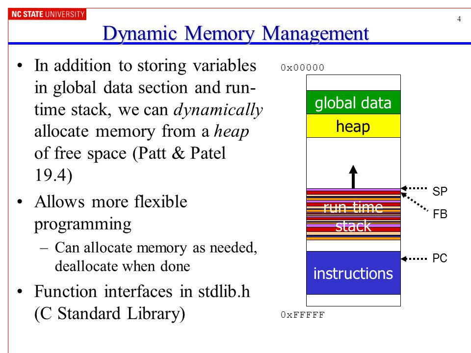 4 Dynamic Memory Management In addition to storing variables in global data section and run- time stack, we can dynamically allocate memory from a hea