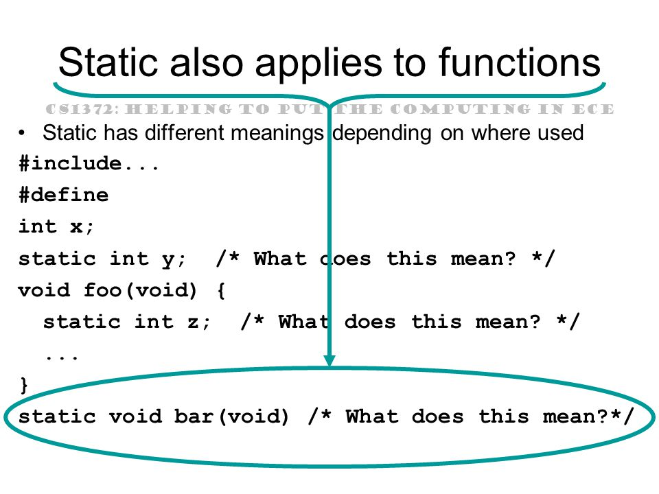 CS1372: HELPING TO PUT THE COMPUTING IN ECE Static also applies to functions Static has different meanings depending on where used #include...