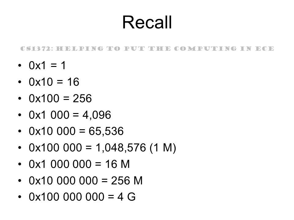 CS1372: HELPING TO PUT THE COMPUTING IN ECE Recall 0x1 = 1 0x10 = 16 0x100 = 256 0x1 000 = 4,096 0x10 000 = 65,536 0x100 000 = 1,048,576 (1 M) 0x1 000 000 = 16 M 0x10 000 000 = 256 M 0x100 000 000 = 4 G