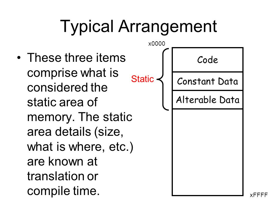 CS1372: HELPING TO PUT THE COMPUTING IN ECE static Variables –A global variable is stored in the static area of memory –A variable that is global just to the functions in one file must be designated using static –A variable that is local to a function AND retains its value (i.e.