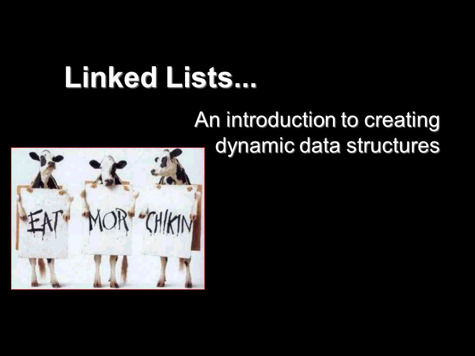 Linked Lists... An introduction to creating dynamic data structures