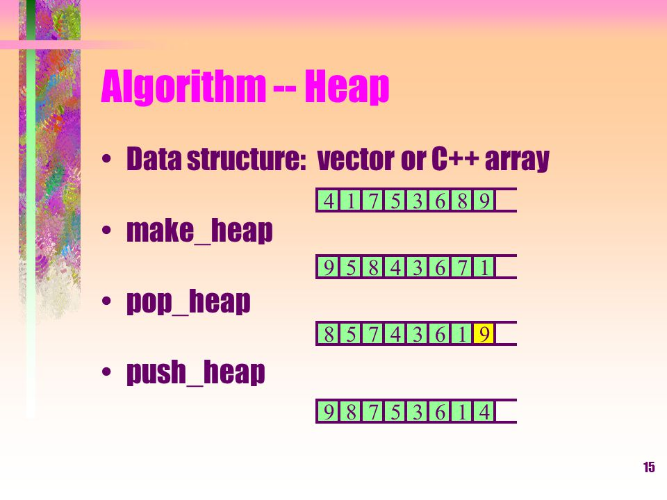 15 Algorithm -- Heap Data structure: vector or C++ array make_heap pop_heap push_heap 41753689 95843671 85743619 98753614