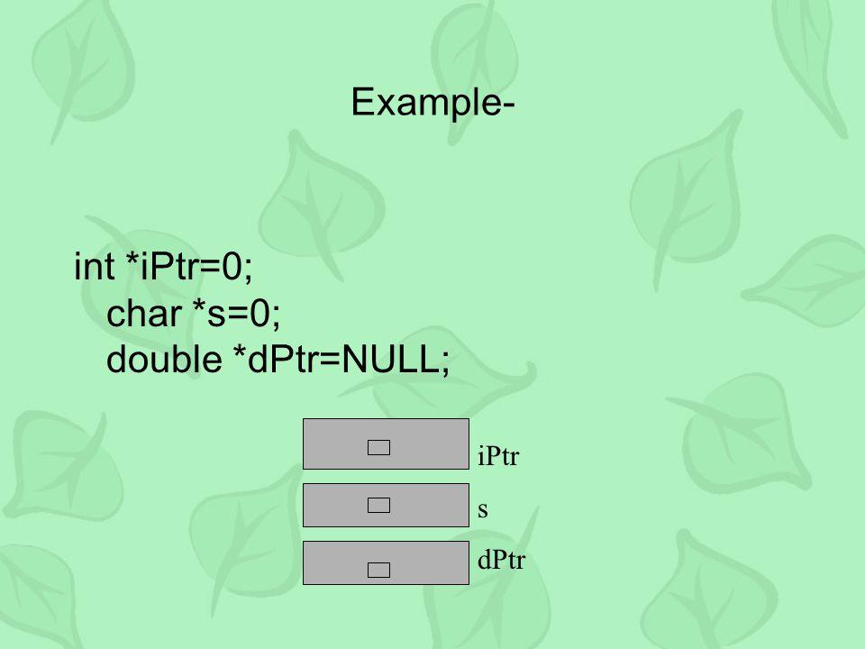 Example- int *iPtr=0; char *s=0; double *dPtr=NULL; iPtr s dPtr