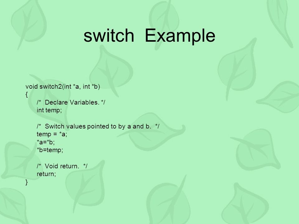 switch Example void switch2(int *a, int *b) { /* Declare Variables.