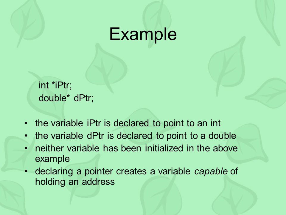 Example int *iPtr; double* dPtr; the variable iPtr is declared to point to an int the variable dPtr is declared to point to a double neither variable