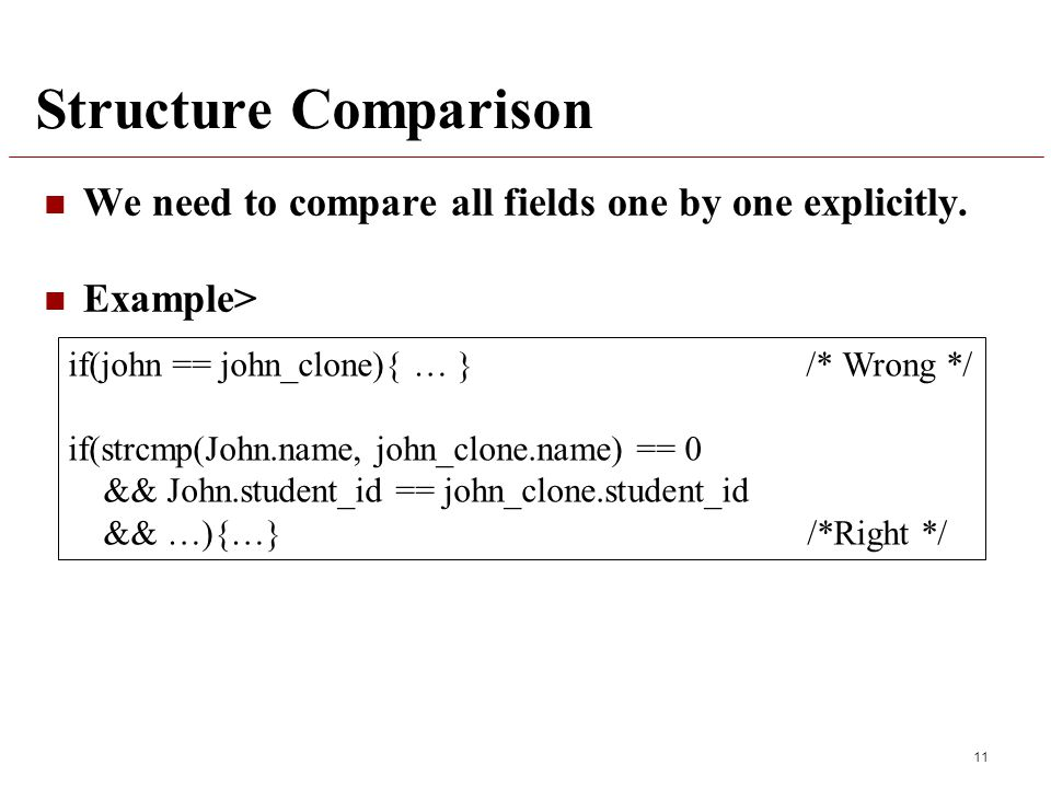 Structure Comparison We need to compare all fields one by one explicitly.