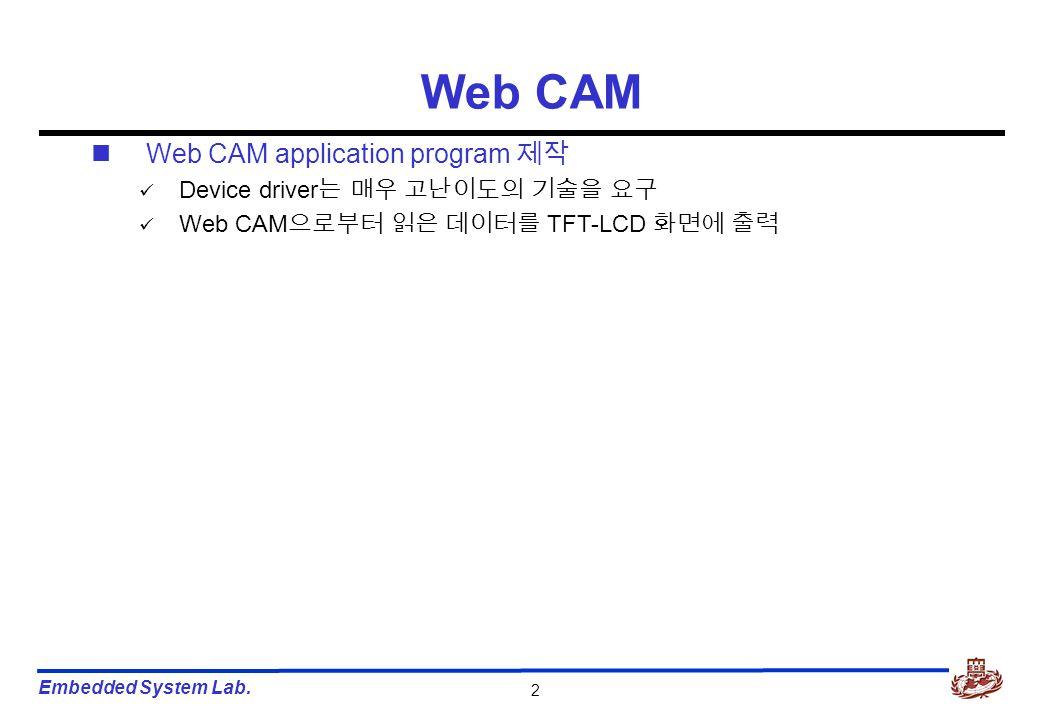 Embedded System Lab. 2 Web CAM application program 제작 Device driver 는 매우 고난이도의 기술을 요구 Web CAM 으로부터 읽은 데이터를 TFT-LCD 화면에 출력 Web CAM