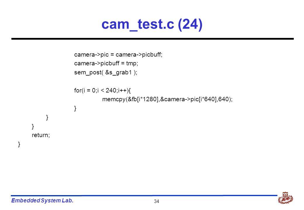 Embedded System Lab. 34 cam_test.c (24) camera->pic = camera->picbuff; camera->picbuff = tmp; sem_post( &s_grab1 ); for(i = 0;i < 240;i++){ memcpy(&fb