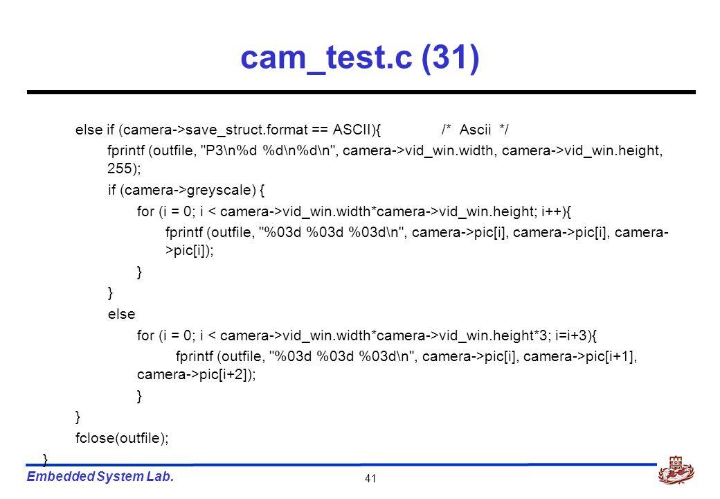 Embedded System Lab. 41 cam_test.c (31) else if (camera->save_struct.format == ASCII){/* Ascii */ fprintf (outfile,