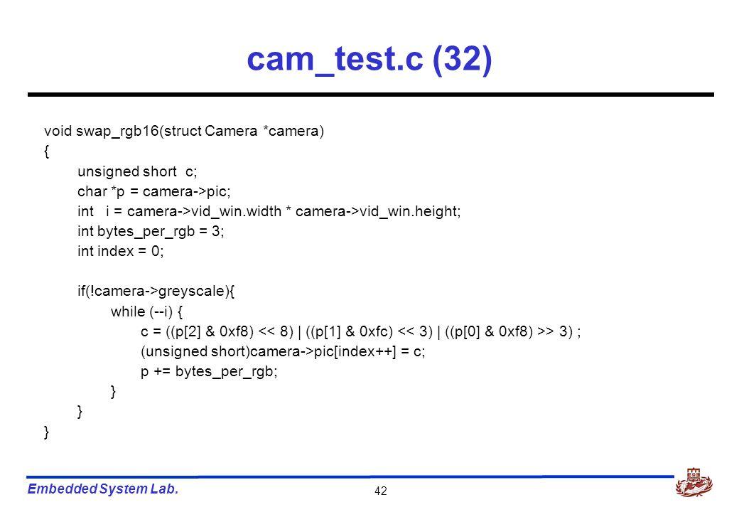 Embedded System Lab. 42 cam_test.c (32) void swap_rgb16(struct Camera *camera) { unsigned short c; char *p = camera->pic; int i = camera->vid_win.widt