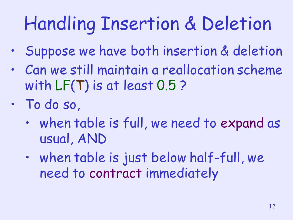 12 Handling Insertion & Deletion Suppose we have both insertion & deletion Can we still maintain a reallocation scheme with LF(T) is at least 0.5 ? To