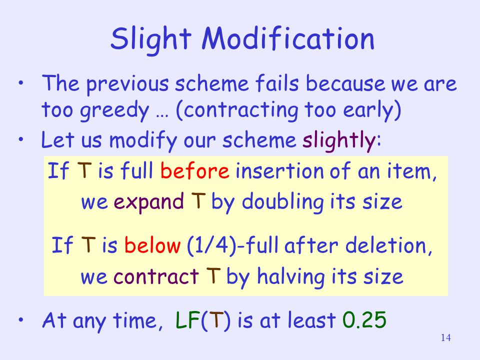 14 Slight Modification The previous scheme fails because we are too greedy … (contracting too early) Let us modify our scheme slightly: If T is full b
