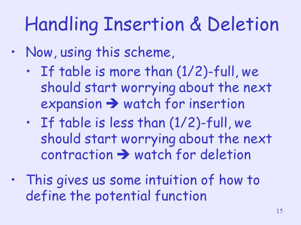 15 Handling Insertion & Deletion Now, using this scheme, If table is more than (1/2)-full, we should start worrying about the next expansion  watch f