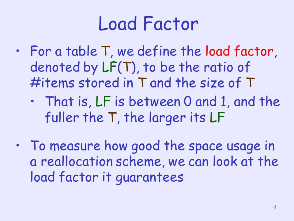 4 Load Factor For a table T, we define the load factor, denoted by LF(T), to be the ratio of #items stored in T and the size of T That is, LF is betwe