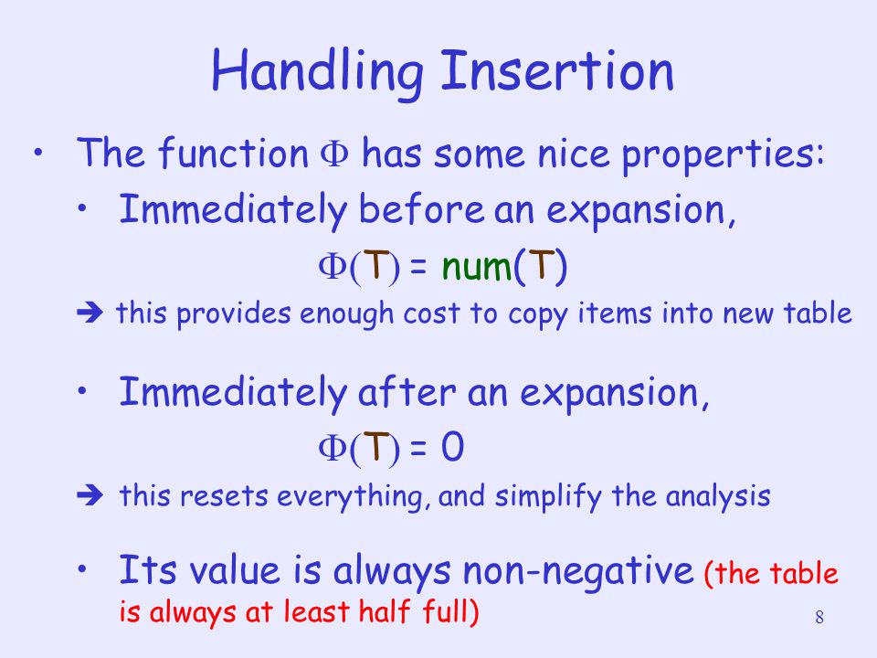 8 Handling Insertion The function  has some nice properties: Immediately before an expansion,  T  = num(T)  this provides enough cost to copy it
