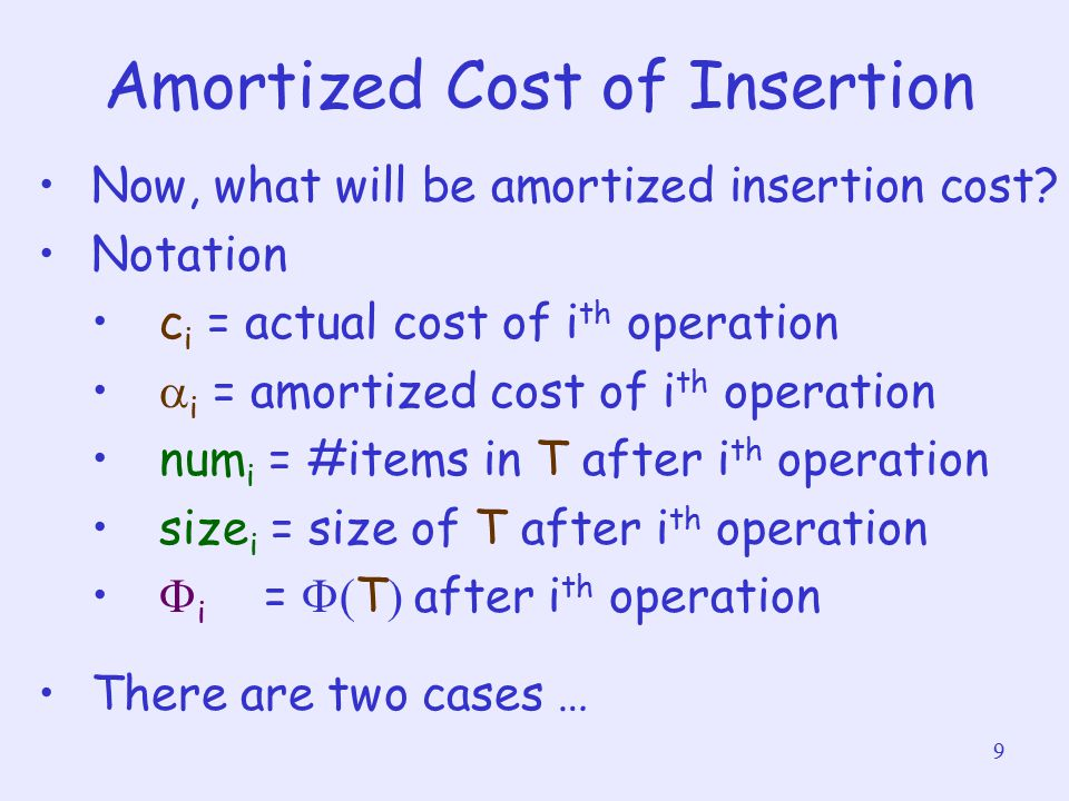 9 Amortized Cost of Insertion Now, what will be amortized insertion cost? Notation c i = actual cost of i th operation  i = amortized cost of i th op