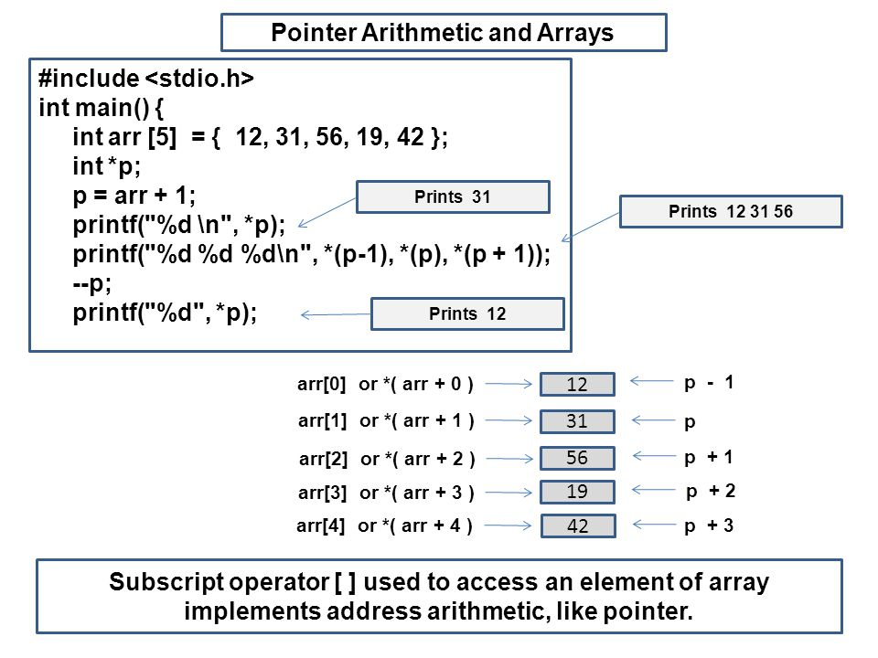 Pointer Arithmetic and Arrays #include int main() { int arr [5] = { 12, 31, 56, 19, 42 }; int *p; p = arr + 1; printf( %d \n , *p); printf( %d %d %d\n , *(p-1), *(p), *(p + 1)); --p; printf( %d , *p); Prints 31 Prints 12 31 56 Prints 12 Subscript operator [ ] used to access an element of array implements address arithmetic, like pointer.