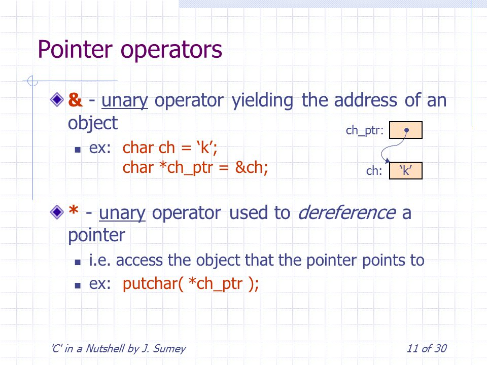 'C' in a Nutshell by J. Sumey11 of 30 Pointer operators & - unary operator yielding the address of an object ex:char ch = 'k'; char *ch_ptr = &ch; * -