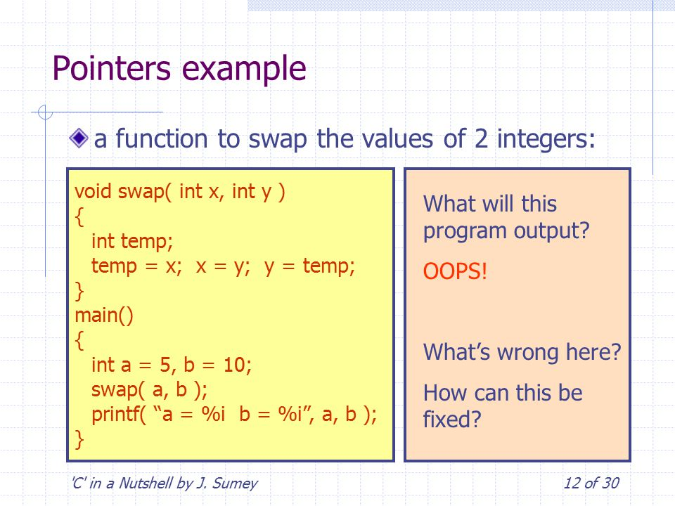 'C' in a Nutshell by J. Sumey12 of 30 Pointers example a function to swap the values of 2 integers: void swap( int x, int y ) { int temp; temp = x; x
